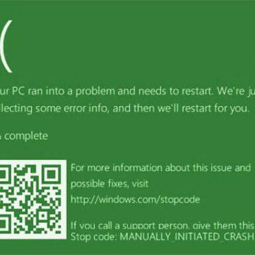 Windows 10 tiene una pantalla verde de la muerte